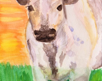 Sweetie Pie Cow at Sunset on the Farm Watercolor Painting