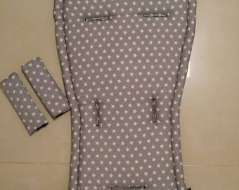 seat stroller liner with strap, stroller pad, pram strap covers, Bugaboo seat, baby carriers&wraps, stroller seat liner, Babyzen Yoyo, gray