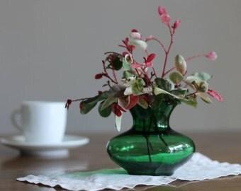 Green Glass Flower Vase