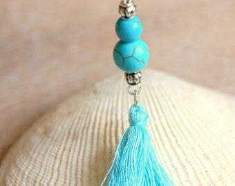 natural turquoise pendant and tassel