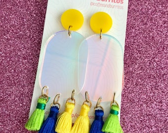 Rainbow Lorikeet ~ Iridescent Moonbeam Green, Yellow and Blue Tassel Earrings