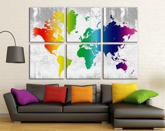 Rainbow World map Canvas wall art World map Canvas Wall Art Canvas Print Wall decor Large Canvas Art Home decor World map canvas
