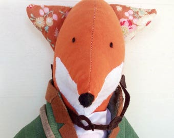 Handmade fox - fox - heirloomdoll - clothdoll - ragdoll - hand embroidery - books - glasses - kidsgift - plush animal - jacket - bag