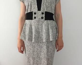 Vintage 1980's Dress / Classic 80's Cotton Dress / Juniors Made in USA Dress / 80's Fashion / Zebra print dress / Peplum Dress