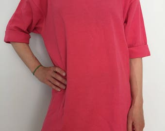 Vintage Express Pink Tunic / 1980's Slouchy T Shirt / 80s Baggy Long Shirt