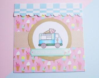 Ice Cream Truck/Van Handmade Birthday Card - handmade, paper crafts, summer, ice cream, pastel, handmade card, birthday, celebration