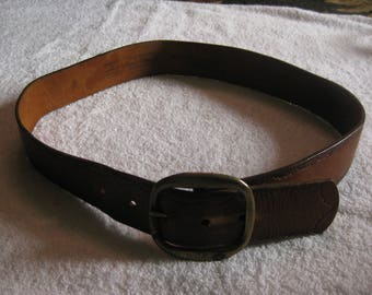 Vintage Tooled Tan Leather Belt