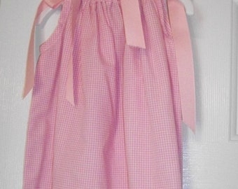 Pink and White Gingham Pillow Case Dress