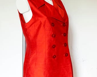 Orange Sleeveless Suit-Waistcoat-Silk Double Breasted Vest Top-M
