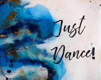Just Dance, original encaustic painting, wall art on cradled panel