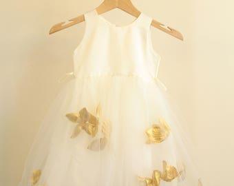 Flower Girl Dresses Ivory with Gold, Baby, Toddler, Girls