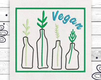 Vegan embroidery Boho For vegan Discount 10% Digital embroidery design 4 sizes INSTANT DOWNLOAD EE5068
