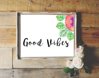 Printable Good Vibes wall art, palm leaf poster, positive vibes wall decor, printable leaf palm, motivational printable art, home decor