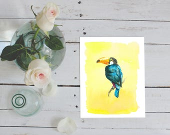 Tropical Toucan art printable, watercolour art print, housewarming gift, kitchen decor tropical bird decor boho watercolor art nursery decor