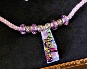 fused glass pendant, unusual gift, Dichroic glass pendant, kumihimo cord, dichroic necklace, art glass, pink necklace. dichroic glass, gift