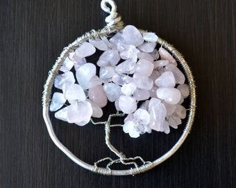 Cherry blossom tree: Wire-wrapped Tree of Life pendant with pink semi-translucent stone beads on silver wire