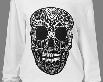 Low Collar Skull Sweatshirt
