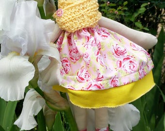Catherine dress with Fuchsia roses and yellow frill
