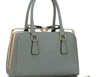Grey Metal Frame Handbag