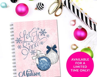 Pink Blue Ornament Let It Snow Quote Planner Cover Erin Condren Life Planner Recollections Happy Planner A5 Pocket Personal B6 Dashboard