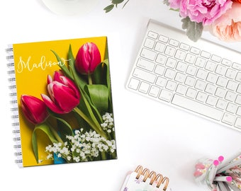 Happy Tulips II Personalized Monogram Planner Cover Erin Condren Life Planner Recollections A5 Personal Pocket Dashboard Happy Planner B6