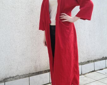 Kaftan Dress Red Linen- Linen Kimono Red- Handmade Linen Dress Kimono Robe- Natural Linen Kaftan- Linen Coat- Jacket red long