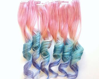 Set of 4 - RAINBOW PASTEL Pink Mint Lavender UNICORN Mermaid Ombre Real Human Hair Extensions Clip In Extensions  Festival Hair Weave