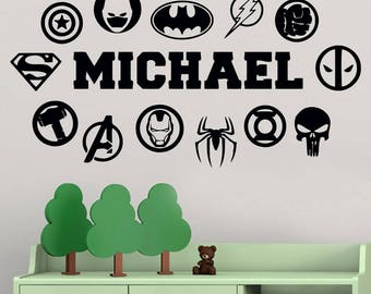Comics Wall Stickers Etsy - Custom vinyl wall decals logo