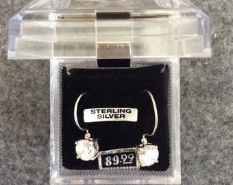 Sterling Silver CZ French Hook Earrings 6 mm CZ