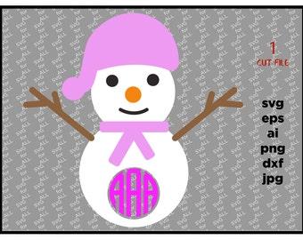 Snowman Monogram SVG, Christmas Monogram SVG, Christmas SVG, Silhouette Cut Files, Cricut Cut Files