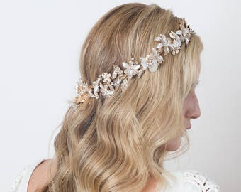 Mother of Pearl Flowers and Crystals Halo