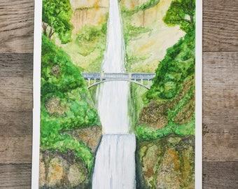 Multnomah Falls in Oregon done in water color