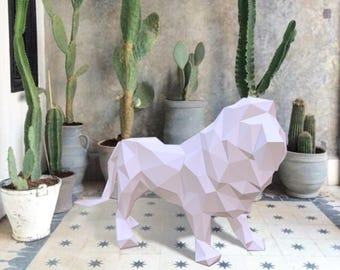 Papercraft Lion - printable DIY template 3D - DIY 3D Papercraft - PDF Download low poly papercraft