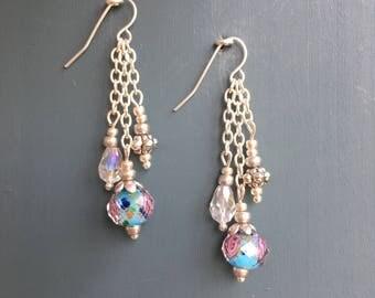 Blue crystal rose pendant earrings