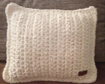 Crocheted cushion beige-hand made