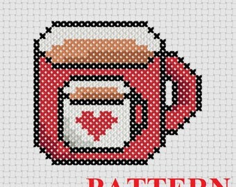 Coffee For Your Coffee Counted Cross Stitch PATTERN / Coffee Mug Cross Stitch / Cat toy Cross Stitch Pattern / Small Cross Stitch Pattern