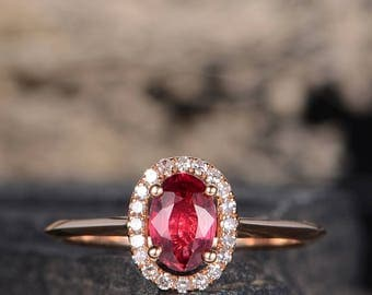 Ruby Rose Gold Engagement Ring Oval Cut Diamond Halo July Birthstone Women Ring Bridal Classic Wedding Anniversary Gift for Her Eternity
