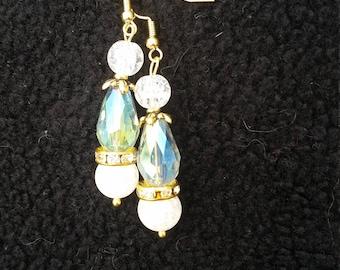 Gold green blue and purple fancy drop earrings