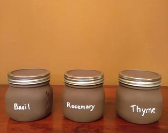 Set of 3 Painted Mason Jars - Brown - Dry Herb Storage Jars