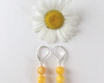 Shell Bead Earrings / Hypoallergenic / Yellow Earrings / Boho Earrings / Beaded Earrings / Hippie Earrings