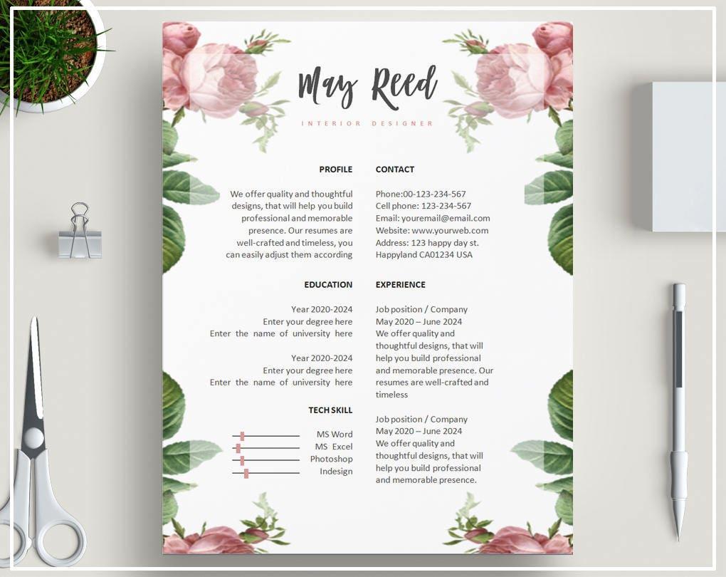 rose floral curriculum vitae mod u00e8le florale cv mod u00e8le rose cv