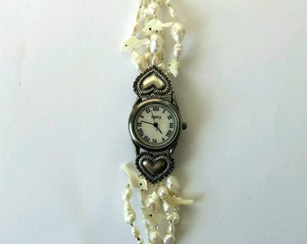 Retro Mother of Pearl Watch with silver heart attachments beaded band.