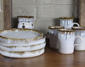 Vintage Hand Thrown Wheel Stoneware 4 Plates, 4 Cups, Candleholder/Vase 1980s Hand Made Signed Drip Glaze