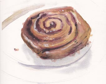 Original watercolor painting / Cinnamon roll / Cinnamon bun / Brown bun / Yummy food art / Kitchen wall decor / Sweet food / Watercolor bun