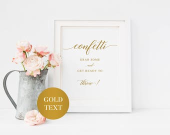 Gold Wedding Confetti Sign | Printable Wedding Sign | Gold Wedding Confetti Send Off Sign | Rustic Confetti Sign | Calligraphy Confetti Sign
