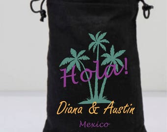 Black Bachelorette Favor Bags, Palm Trees Bag, Black Drawstring Bags, Personalized Party Gifts, Hola, Customized Party Gifts
