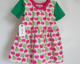 Girls Pink And Apple Jersey Dress Age 2-3 Years