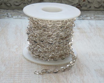 Oval Link Shiny Silver Plate Cable Chain 6mmx 7mm