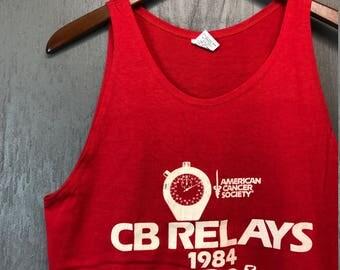 S/M * NOS vintage 80s 1984 CB Relays tank top t shirt * race