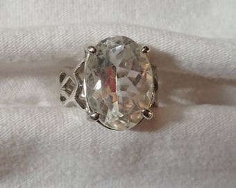 Large Quartz and Sterling Silver Ring ~ Estate Jewelry